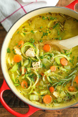 Chicken zoodle keto soup