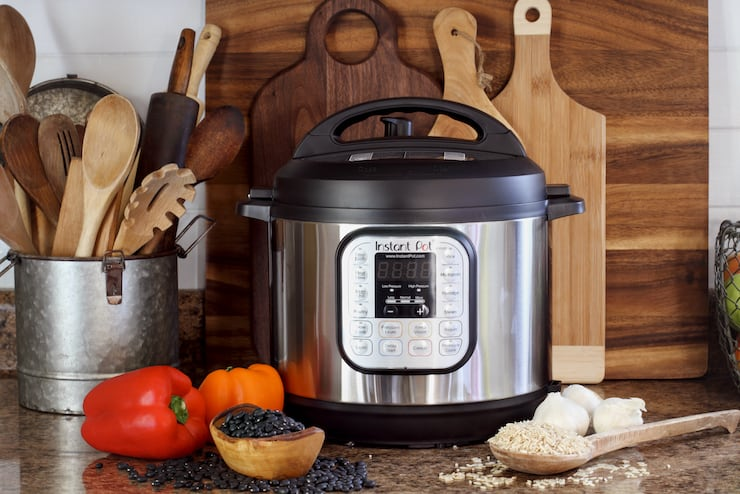 Keto instant pot meals being prepared in a kitchen