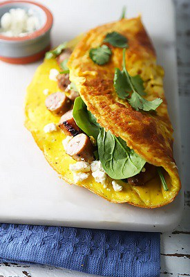 3 egg omelette with fetta and sausage