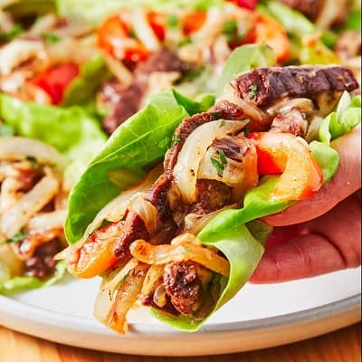 Low carb philly cheese steak lettuce wraps
