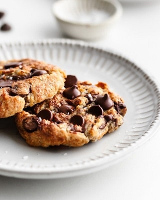 Keto air fryer chocolate chip cookies on a plate