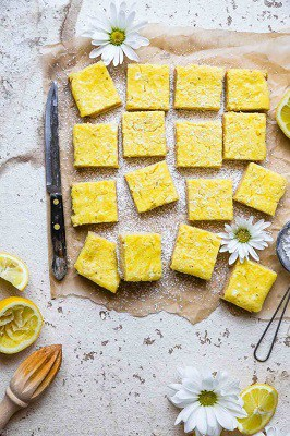 Low carb lemon bars on a cutting board