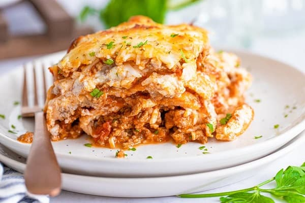 Low Carb keto lasagna on a plate with a silver fork