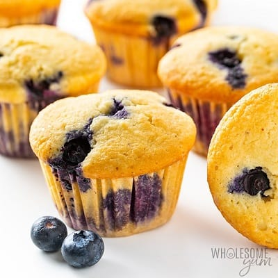 Keto blueberry muffins in a bunch