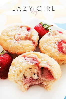 Strawberry keto muffins with bite taken out