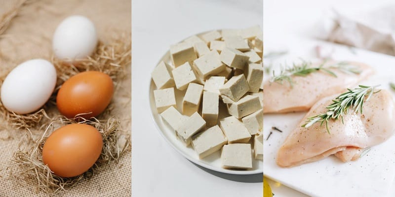 Different examples of lean protein including eggs and white meat