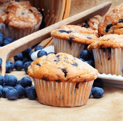 Low carb blueberry and lemon muffins