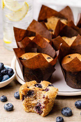 Cream cheese low carb blueberry muffins