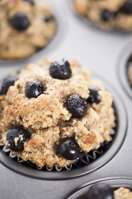 keto flour blueberry muffin in a tin