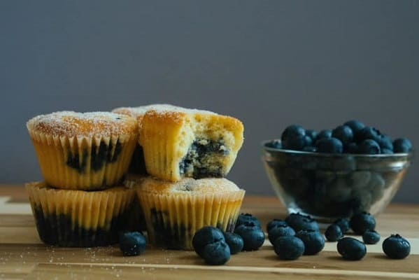 Low carb keto muffins with blueberries