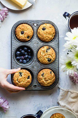 Sugar free keto blueberry muffins in a tin