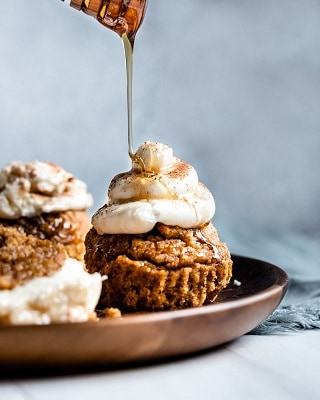 Keto pumpkin spiced muffins with cream cheese and syrup