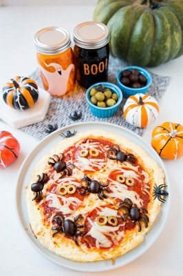 Halloween Spider pizza on a plate