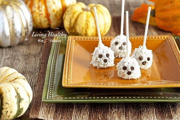 4 paleo ghost truffles on a plate